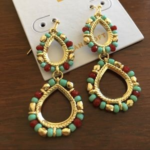 NWT Gold Drop Dangle Earrings with Beads